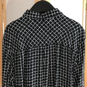 Topshop Tops - Sz 12 TopShop high low blouse window pane print